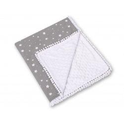 BabyLion Prémium két oldalú Minky takaró - Fehér - Szürke csillagok
