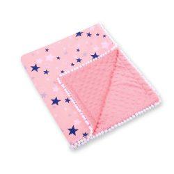 BabyLion Prémium két oldalú Minky takaró - Rózsaszín - Kék csillagok