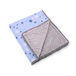 BabyLion Prémium két oldalú Minky takaró - Szürke - Kék csillagok