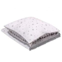 BabyLion Prémium Minky takaró + párna - Fehér - szürke csillagok