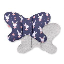 BabyLion Prémium Minky pillangó párna - Sötétkék - nyuszik