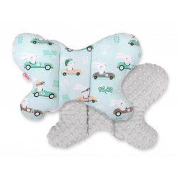 BabyLion Prémium Minky pillangó párna -  Szürke - Menta autós nyuszik