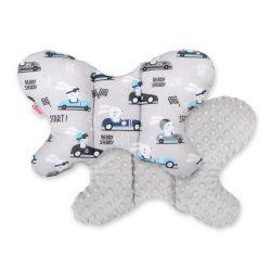BabyLion Prémium Minky pillangó párna - Szürke autós nyuszik