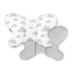 BabyLion Prémium Minky pillangó párna - Szürke felhők