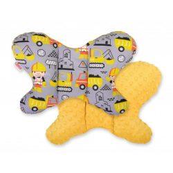 BabyLion Prémium Minky pillangó párna - Munkagépek - Sárga