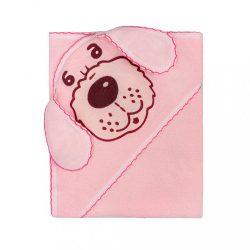 Baba frottír törölköző 80x80 kutya rózsaszín
