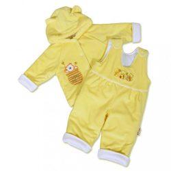 Csecsemő téli együttes New Baby mackó sárga-fehér