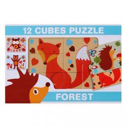 Képes kockakirakó 12 db erdei állatok
