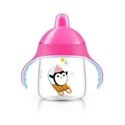 Bájos itatópohár Avent Pingu 260 ml rózsaszín
