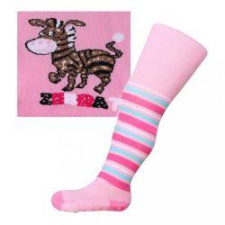 Pamut harisnyanadrág New Baby ABS-el rózsaszín zebra