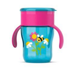 Bájos itató pohár Aventt 360 ° - 260ml rózsaszínes - kék