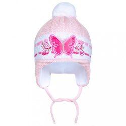 Téli gyermek sapka New Baby Pillangó világos rózsaszín