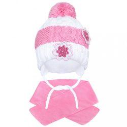 Téli gyermek sapka sállal New Baby virágok rózsaszín