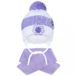 Téli gyermek sapka sállal New Baby virágok lila