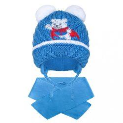 Téli gyermek sapka sállal New Baby maci sötét kék