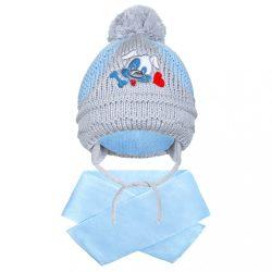 Téli gyermek sapka sállal New Baby kutyus világos kék