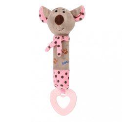 Gyermek sípolós plüss játék rágókával Baby Mix egérke rózsaszín