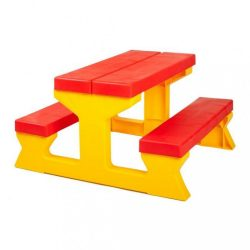 Gyermek kerti garnitúra - Asztal és pad piros - sárga
