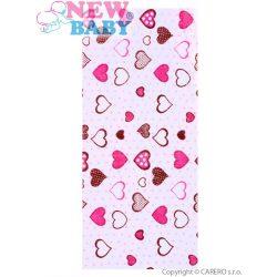Pamut mintás pelenka New Baby fehér rózsaszí szívecskékkel