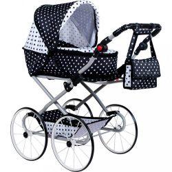 Gyermek Retro babakocsi babáknak 2az1-ben New Baby Natálka fehér - fekete