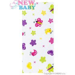 Pamut pelenka nyomtatott mintával New Baby fehér kék-sárga nyuszival