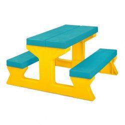 Gyermek kerti garnitúra - Asztal és pad türkiz - sárga
