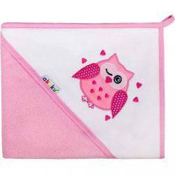 Gyerek törölköző 80x80 Akuku rózsaszín baglyócska
