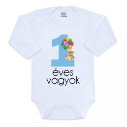 Body nyomtatott mintával New Baby 1 éves vagyok kék