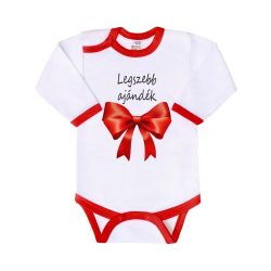 Body nyomtatott mintával New Baby Legszebb ajándék piros