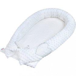 Luxus babafészek babák számára Minky-ből New Baby fehér