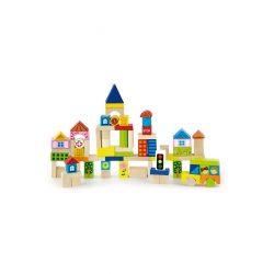 Fából készült kocka gyermekeknek Viga City 75 element