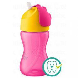 Bájos itató pohár hajlékony szívószállal Avent 300 ml rózsaszin