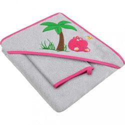 Baba kifogó kapucnival és fürdőkesztyűvel 80x80 Akuku szürke - rózsaszín vizilóval