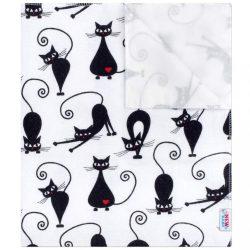 Vízálló flanel alátét New Baby fehér fekete cicával