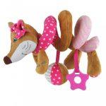 Spirálos játék kiságyra Baby Mix róka rózsaszín