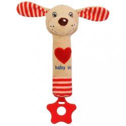 Sípolós plüss játék rágókával Baby Mix kutyus piros