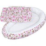 Luxus babafészek párnával és paplannal kisbabák számára New Baby pillangó rózsaszín