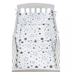 3-részes ágyneműhuzat New Baby 90/120 cm fehér csillag szürke