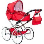 Gyermek Retro babakocsi babáknak 2az1-ben New Baby Elen piros szívecskével