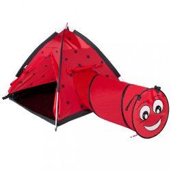 Gyermek sátor PlayTo Katica alagúttal piros
