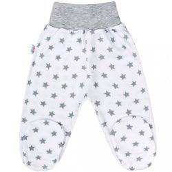 Baba lábfejes nadrág New Baby Classic II szürke csillagokkal