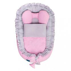 Luxus babafészek paplannal kisbabák számára Belisima Nyuszi rózsaszín