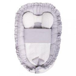 Luxus babafészek paplannal kisbabák számára Belisima Nyuszi szürke