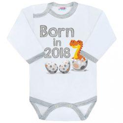 Body nyomtatott mintával New Baby Born in 2018 szürke-fehér
