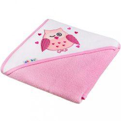 Gyerek törölköző 100x100 Akuku rózsaszín baglyócska