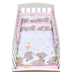 3-részes ágyneműhuzat New Baby 90/120 cm rózsaszín elefántos