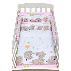 3-részes ágyneműhuzat New Baby 100/135 cm rózsaszín elefántos