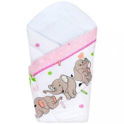 Pólyakendő New Baby rózsaszín elefántos