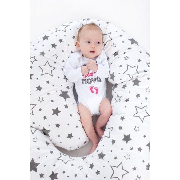 Univerzális szoptatós párna C alakú New Baby szürke pöttyös