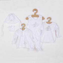 5-részes pamut baba együttes New Baby Mókusokkal dobozba fehér